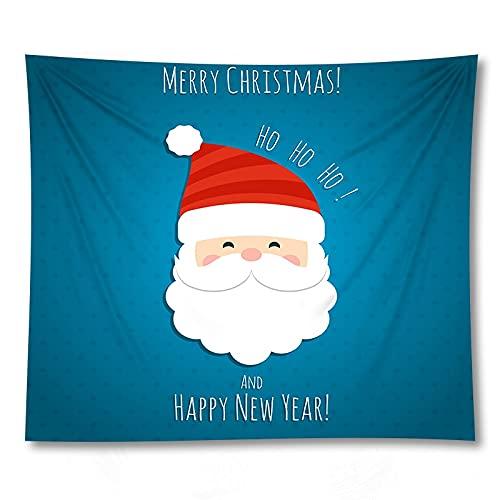 PPOU Tapiz navideño Adornos de Arte de Pared Feliz Santa decoración del hogar Fondo Tela Tapiz sofá Manta decoración Tela A8 150x200cm