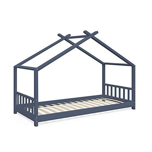 VitaliSpa Kinderbett Hausbett Design 90x200cm Kinder Bett Holz Haus anthrazit