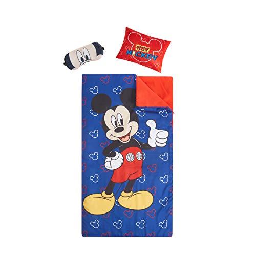 Disney Mickey Mouse Giftable Sleepover Set with Sleeping Bag, Pillow & Bonus Eye Mask, Ages 3+, Multi, 26'x46'