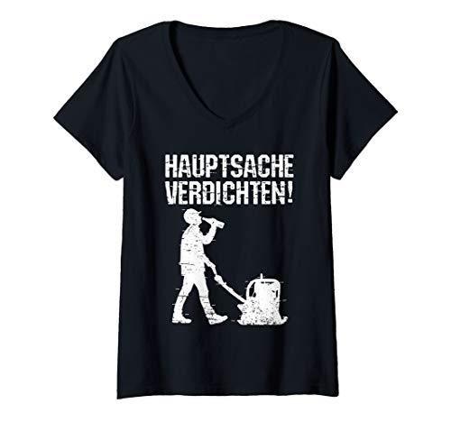 Damen Bauarbeiter Bier Spruch Hauptsache verdichten Baustelle Bau T-Shirt mit V-Ausschnitt