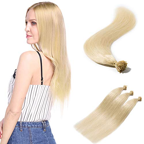 100 Strands/Pack I Tip Remy Human Hair Extensions Pre Bonded Keratin Stick In Hair Extensions Cold Fusion Hair Piece For Women Long Straight #60 Platinum Blonde 18'' 50g
