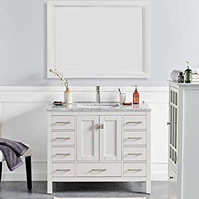 Eviva Hampton 36 x 18 inch White Transitional Bathroom Vanity with White Carrara Countertop and Undermount Porcelain Sink