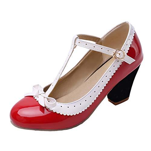 T-spangen High Heels Pumps mit Blockabsatz und Riemchen Lack Rockabilly Cosplay Lolita Schuhe (Rot,39)