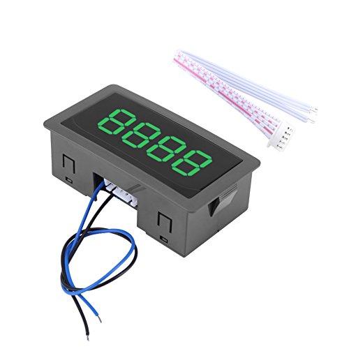 Hilitand Stellenzähler, DC 8-24V, 4-stellige LED-Digitalanzeige 0-9999 Auf/Ab Plus/Minus Panel Zähler Meter mit Kabel(Green)