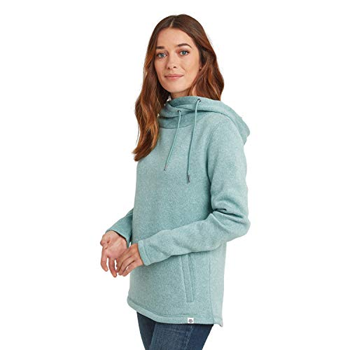 TOG 24 Acer Womens Warm Knitlook Fleece with Oversized Hood Slouched Loungewear Nile Blue