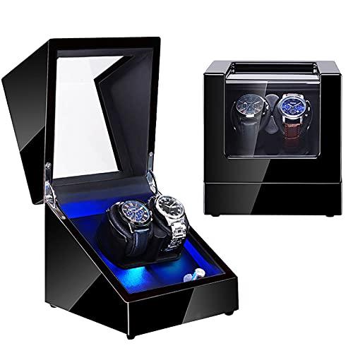 Devanadera De Reloj Doble con Caja De Exhibición De Almacenamiento De Reloj De Motor Japonés Silencioso Mabuchi con Memoria De Látex Almohada para Relojes Automáticos para Dama Y Hombre,Leather 04