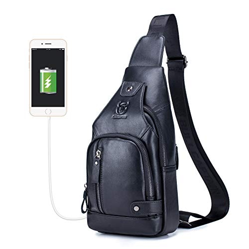 BULLCAPTAIN Genuine Leather Mens Sling Bag Multipurpose Travel Crossbody Chest Bag Daypacks with USB Charging Port (Black)