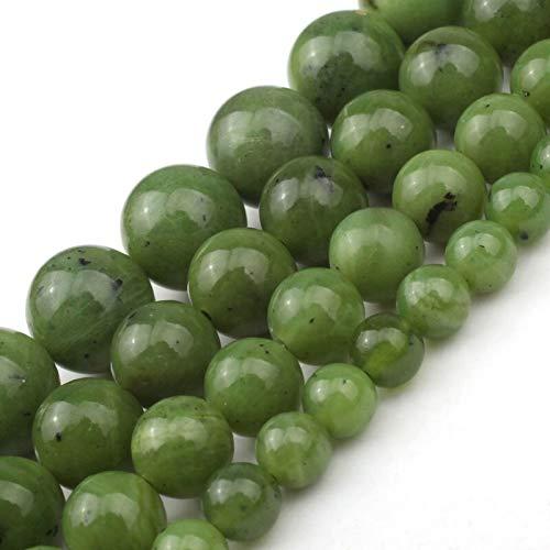 JWGD Verde de Canadá Perlas Naturales Jade Flojo Redondo 6 8 10 12 mm Bolas de Piedras Preciosas for la joyería Que Hace DIY del Encanto de la Pulsera del Collar 7,5 Pulgadas