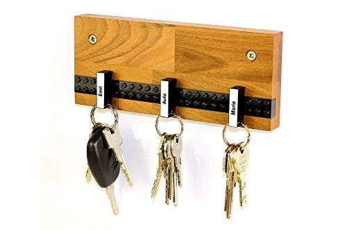 Schlüsselbrett PLAY 201 Holz | Für die ganze Familie | Schlüsselleiste Nussbaum mit 5 Schlüsselanhängern zum selbst beschriften | schwarz