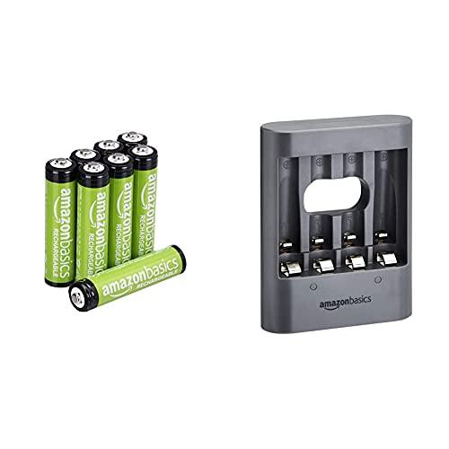 Amazon Basics Chargeur de Nuit USB - Noir & Piles Rechargeables AAA, pré-chargées - Lot de 8 (Le visuel Peut différer)