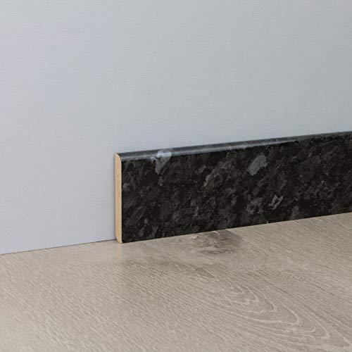 Sockelleiste Fußbodenleiste Standard aus MDF in Black Pearl Superglanz 2600 x 10 x 60 mm