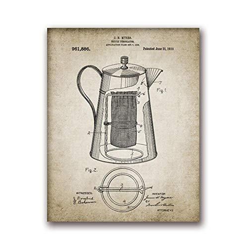 None brand Kaffee Machen Vintage Poster drucken Kaffee Perkolator und Kaffeebohne Wandkunst Leinwand Malerei Arten von Kaffee Bild Home Decor-50x70cm