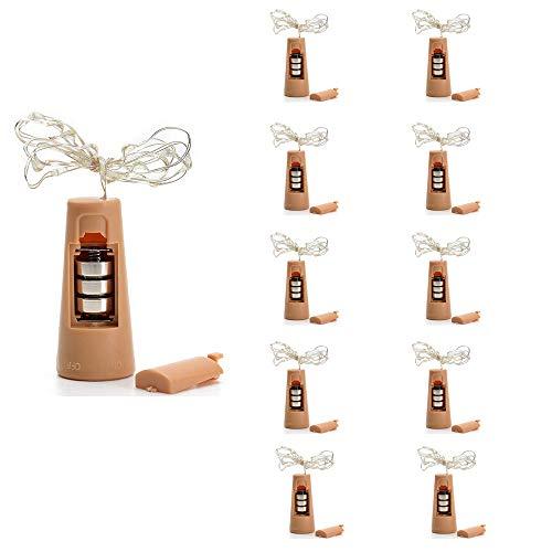Lot de 5 ampoules LED en liège pour bouteille de vin 200 cm 20 LED en fil de cuivre pour bouteille, Noël, fêtes et Halloween. Rétro Lot de 10