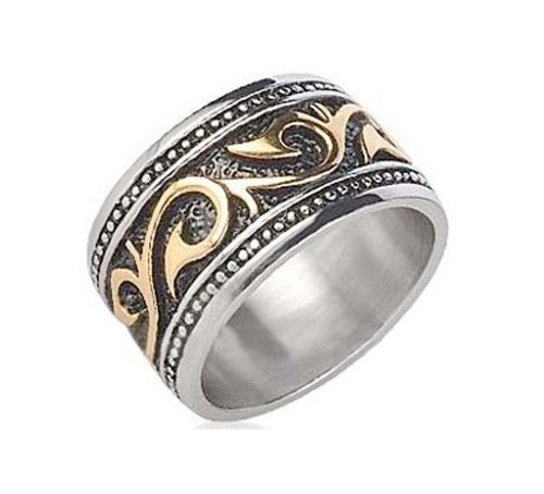 Tribal Ring For Men. Stainless Steel Ring w/ 14K Gold IP - Rings for Men. Celtic Irish Steel wedding band, wedding ring, Anniversary Ring. Gothic Mens Rings size 8, 9, 10, 11, 12, 13 comfort fit (12)
