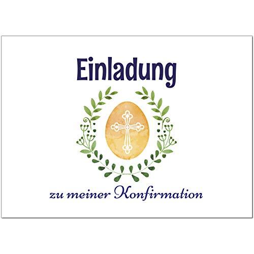 15 x Einladungskarten zur Konfirmation mit Umschlägen/Grüner Blätterkranz/Konfirmationskarten/Einladungen zur Feier