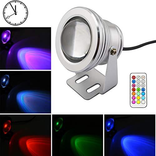 Lemonbest Unterwasserlicht RGB-Farbe, die LED-Pool-Lichter mit Timing-Funktion 10W Brunnen-Scheinwerfer für Teich-Aquarium-Aquarium ändert (RGB mit Stecker)