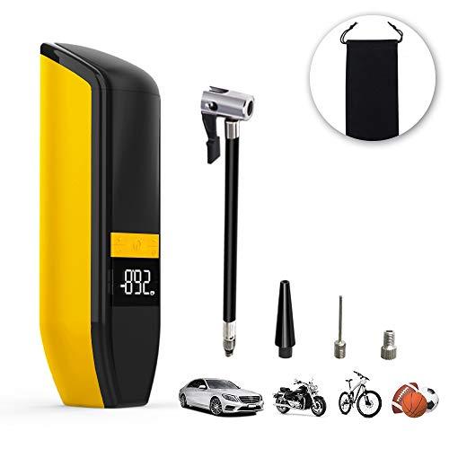 Aviski Compresor de Aire Portátil con USB Batería de 6000mAh, Mini Inflador de NeumáTicos, Bomba Eléctrica con Luz de Emergencia, Pantalla Digital para Bici, Motocicleta, Automóvil, Pelotas -Naranja