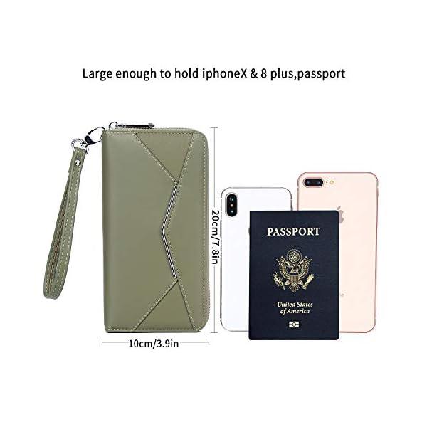 KOWENTIK Women Wallet Leather Zip Phone Clutch Large Travel Organizer Zipper Coin Purse Wristlet