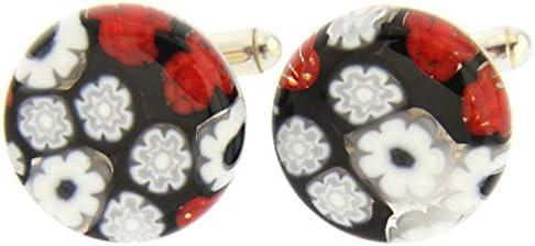 GlassOfVenice Millefiori - Gemelos de Cristal de Murano, Color Rojo y Negro