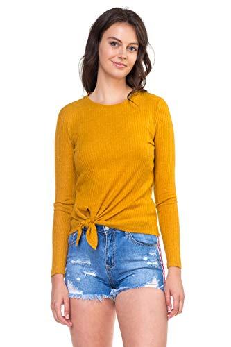 OFASHIONUSA Womens Ribbed Front Tie Shirt Mustard L
