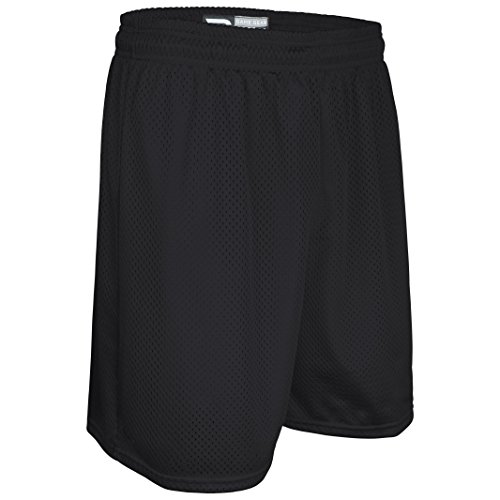 """Game Gear AP-6477Y-CB Youth Solid Color 7"""" Short-1.5"""" Covered Elastic Waist-Soccer, Pee Wee Football, Baseball and Other Youth League Activities- (Youth Small, Black)"""
