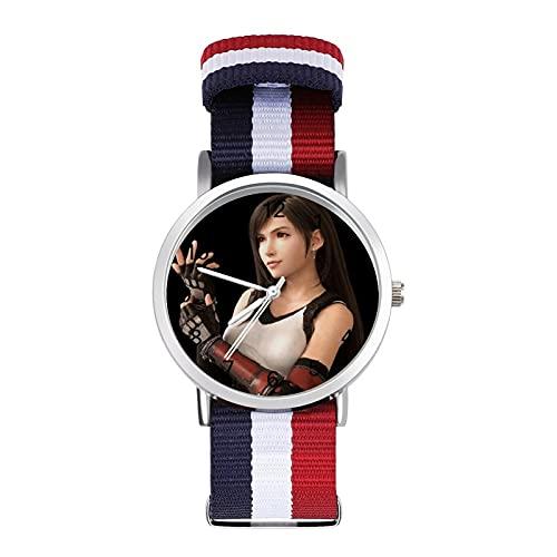 Final Fantasy Tifa LockhartTrenzado Band Reloj con Escala Moda Negocios Ajustable Banda Impresión Color Banda Adecuado tanto para Hombres como Mujeres