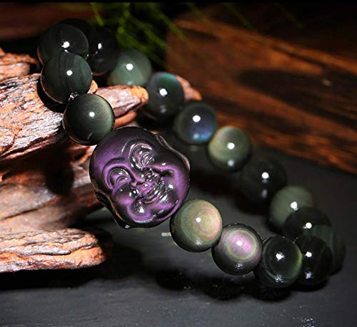 Wsadjkl Alloy Bracelet Feng Shui Wealth Bracelet Laughing Buddha Rainbow Obsidian Talisman Attract Wealth Good Luck On A Roll Unisex Giftable Crystal Natural Chakra Gemstone Quartz Beads, 18mm
