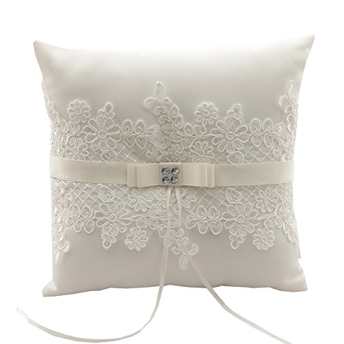 "Rimobul Wedding Ring Pillow 8.2"" x 8.2"" - Ivory"