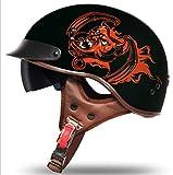 GYFY Motorradhelm Harley Retro personalisierte Lokomotive abgedeckt halben Helm DOT Zertifizierung...
