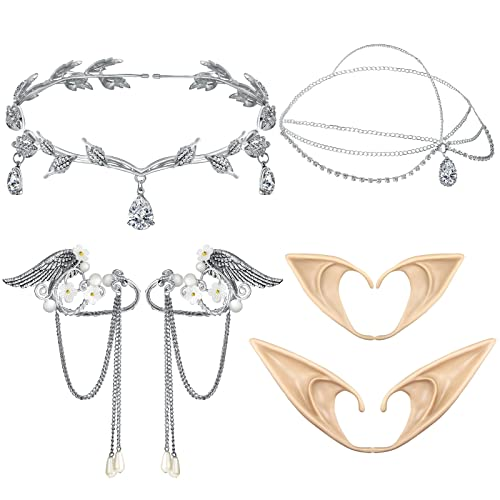 8 Pieces Fairy Cosplay Set Included Rhinestone Leaf Crown Headband Rhinestone Drop Headpiece Elf Ear Cuffs And 2 Pairs Elf Ears For Halloween Women Girls Dress Up Costume Party Props Accessories