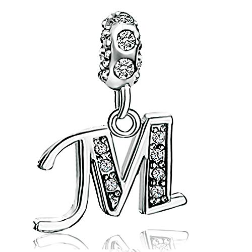 KunBead Initial M Letter Grandma Charms Alphabet Crystal Granddaughter Dangle Beads for Charm Bracelets