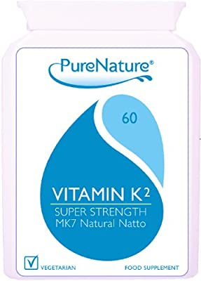 Vitamin K2 MK-7 Derived from Natural Natto 100mcg Highest Strength and Quality UK manufactured to Premium standards 60 Slow Release Vegetarian Capsules non-GMO, organic, allergen-free, and a stable fermentation process 100% Quality Assured Money Back Guar