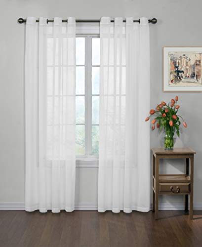 "CURTAIN FRESH Arm and Hammer Modern Odor Neutralizing Sheer Voile Light Filtering Grommet Window Curtains for Bedroom or Living Room (Single Panel), 59"" x 84"", White"