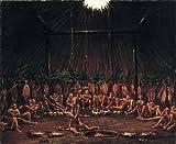 GFM Painting - Riproduzione fatta a mano di Pittura ad Olio. Soggetto:Interior View of the Medicine Lodge Mandan O kee pa Ceremony 1832,Pittura ad Olio di George Catlin - 8 By 10 pollici