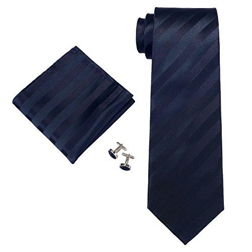 "Landisun Stripes Hommes Soie Cravate Ensemble 55W Marine Bleu, 3.25"" Wx59 L"
