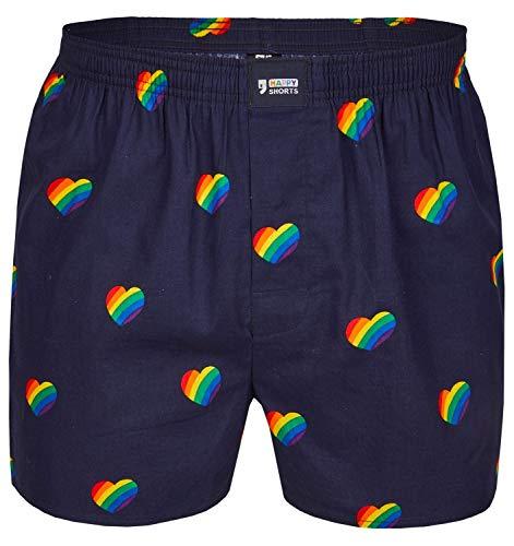 Happy Shorts Herren American Boxer Boxershorts Shorts Webboxer Pride Big Hearts Herzen, Grösse:L - 6-52, Präzise Farbe:Pride Big Hearts