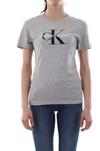 Calvin Klein Jeans Damen Core Monogram Logo Regular Fit Tee T-Shirt, Grau (Light Grey Heather 038), X-Large (Herstellergröße: XL)
