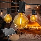 Luces solares de cadena de 25 pies G40 para exteriores con 13 bombillas LED inastillables, 4 modos de iluminación IP44 Luces colgantes para el patio trasero, tienda de bistro, pérgola