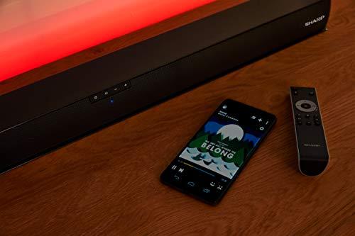 SHARP HT-SBW800, 5.1.2 Dolby Atmos Engine - Barra de Sonido con Subwoofer inalámbrico, Bluetooth, Sonido Surround 3D y experiencia 4K, HDMI ARC/CEC y Potencia Total de 570 W, Color Negro