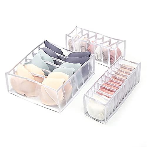 YFQHDD Organizador de Conjunto de 3 Piezas for Calcetines Home Separado Ropa Interior Caja de Almacenamiento Bra Organizador Organizador de cajones Plegables (Color : B, Size : 3-Piece Set)
