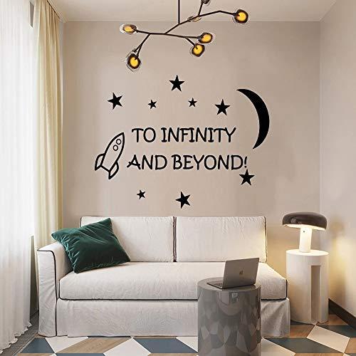 Citas positivas que dicen'hasta el infinito' escritas en la pared de vinilo, decoración de adsorción de ventanas y aula