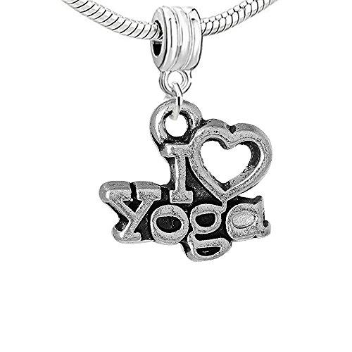 Sexy brilla de la mujer I Love Yoga Dangle Charm Bead para pulsera de cadena de serpiente
