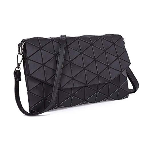 HYLH Frauen Geometrische Laser Umhängetasche Luminous Lingge Einkaufstasche Pu-Leder Umschlag Handtasche Crossbody Messenger Bags