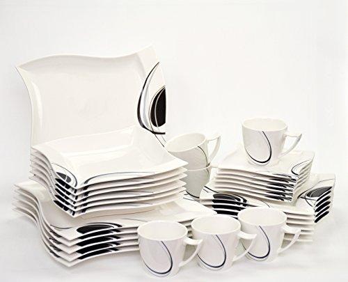 Kombiservice Scarlett 30-teilig eckig Porzellan für 6 Personen weiß mit schwarzem Dekor geschwungene Kanten