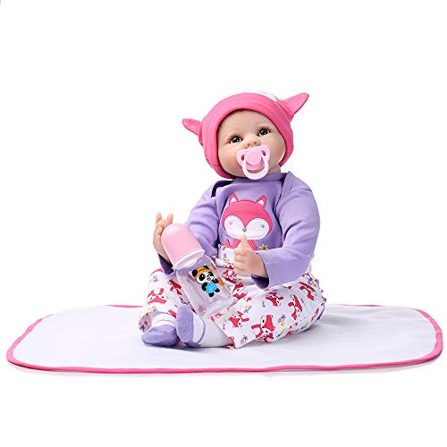 MCJL Boneca bebê Reborn realista de silicone para renascimento com corpo de tecido, brinquedo fofo e macio