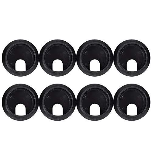 Camisin 8pcs de cubierta de agujero Negra redonda de plastico de cable de escritorio de la computadora 35mm