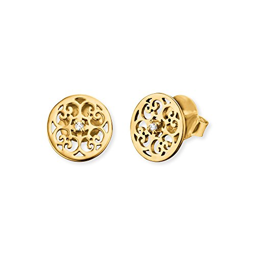 Engelsrufer Ornament Ohrstecker für Damen Gelbvergoldet 925er-Sterlingsilber Weiße Zirkonia Größe 13 mm