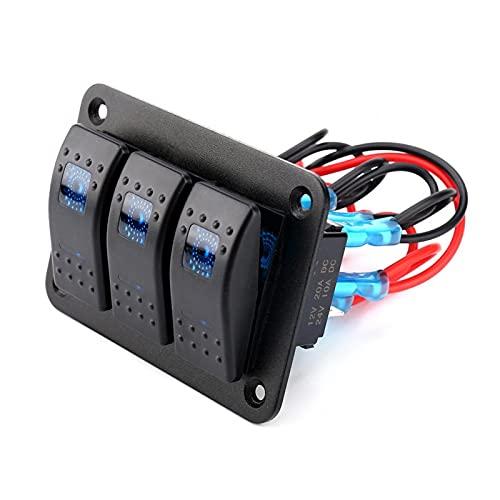 Panel de interruptor basculante, panel de interruptor basculante de coche impermeable de 3 bandas 12-24 V con luz LED para barco marino de coche RV