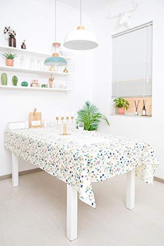 WOMGF Mantel Antimanchas Cuadrado Mantel para Mesa de Cocina o Salón Lavable Diseño de Comedor Decoración del Hogar 130x130cm Flor