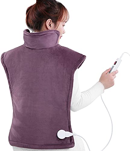 """Large Electric Heating Pad for Back and Shoulders, 24""""x33"""" Heat Wrap Vest with 6 Heating Levels, 1.5 Hours Auto Shut Off Available, Purple"""